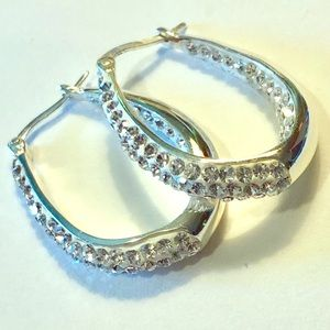 Jewelry - Sterling silver & rhinestone oval hoop earrings